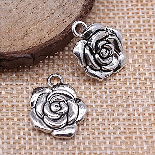 WANM Colgante 4 Uds 15X18Mm Encantos De Rosas De Color Plateado Antiguo para Hacer Joyería DIY Joyería Hecha A Mano DIY