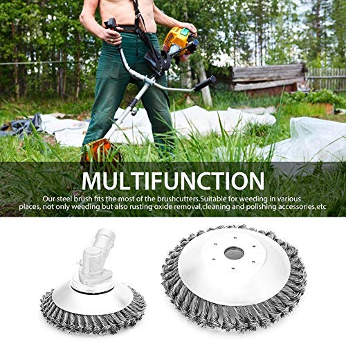 iBoosila - Accesorio para cortacésped, eliminación de polvo con cabezal de corte de alambre y rueda antimalas hierbas 150 mm/190 mm