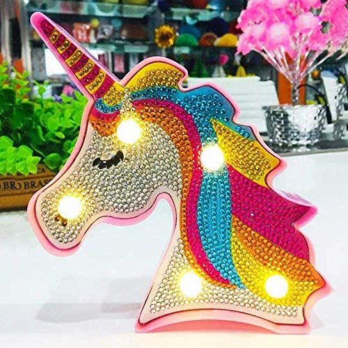 Diamond Painting Unicorn with LED Lights DIY Special Shaped Full Drill Crystal