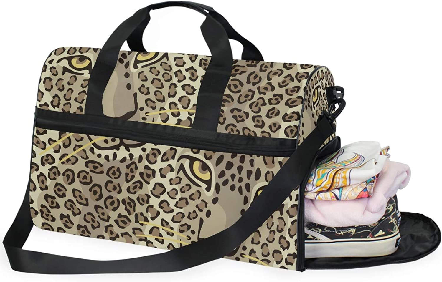 WIHVE Sports Gym Bag with shoes Compartment Cat Leopard Skins Travel Duffel Bag