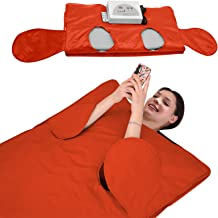 SEAAN Far Infrared Sauna Blanket 2 Zone Weight Loss Detox Therapy FIR Sauna Blanket for Body Shape Slimming Fitness for Women Man, Allow Reach Out Hand, with 50 Packs Plastic Sheeting for Body Wrap