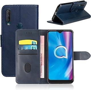 NOKOER läderfodral till Alcatel 1S 2020, flip kohud PU-läder plånbok skydd, korthållare läder skyddande telefonskal för Al...