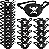 Pirate Eye Patches Black One Eye Skull Patches Silk Pirate Captain Eye Masks for Halloween Christmas Pirate Theme Party (24 Pieces)