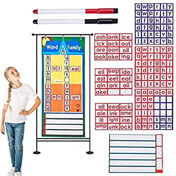 SHINECH Word Family Pocket Chart -Word Family Pocket Chart Card -Pocket Chart for Home School Supplies-Classroom Decor -Teaching Supplies Comes with 153 Cards -2 Dry Eraser Markers -18.5  x 41.75
