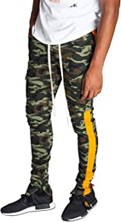 Men's Olive Camo Tapered Skinny Fit Striped Cargo Pants with Ankle Zipper