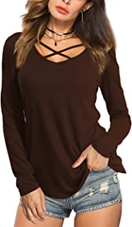 Womens Casual V Neck Short/Long Sleeve Criss Cross T-Shirt Blouse Tops