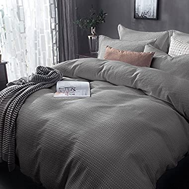 Merryfeel Sand Washed Cotton Waffle Weave Duvet Cover Set - King