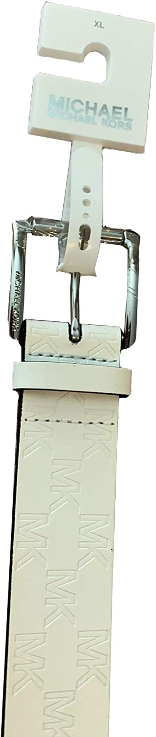 Michael Kors Women's White MK Max 50% OFF At the price of surprise Leather Belt Large Logo