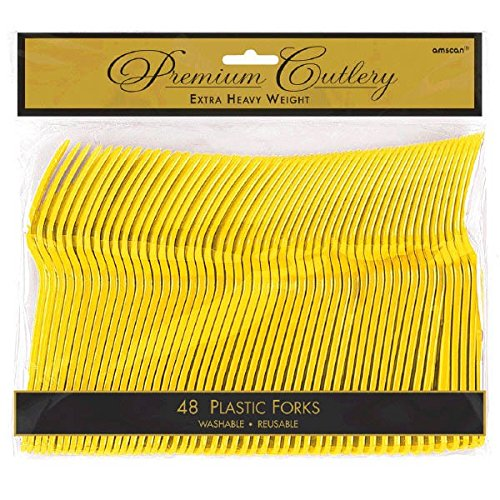 Amscan 8010.09 Party Tableware Premium Heavy Weight Plastic Forks Pack of 48, Full Size, Sunshine Yellow