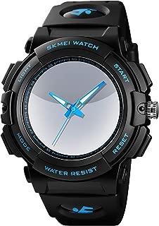 PASOY Mens Cool Blue 3D Backlight Watch Black Rubber Strap Swim Waterproof Sport Quartz Analog Watches