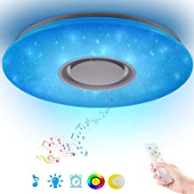 Led Music Ceiling Light with Bluetooth Speaker Multifunctional APP 36W, High Sound Quality Speaker, Upgraded Modern Light Fixtures with RGB Color Changing, Family Party Star Lights (Remote Includes)