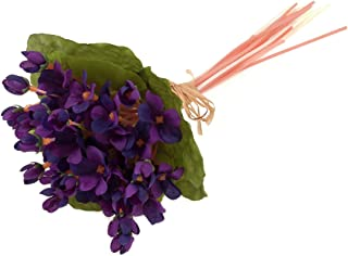 Floristrywarehouse Artificial Silk Violet Stems and Leaves Bunch 10.5 Inches Purple