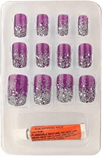 Color Fever False Nails - Quick Stick Artificial Nail Set with Glue, (Purple) 12 pc Set