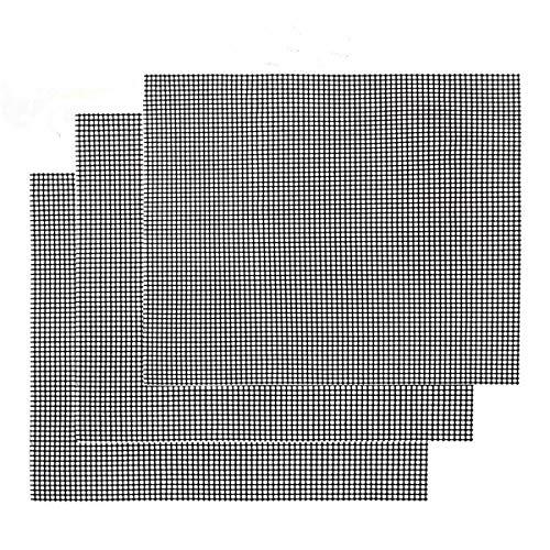 Nifogo Gitter Grillmatte 3er Set - Backmatte Eckig, Dauer-Backmatten, Antihaftbeschichtung, LFGB und FDA Zulassung (Schwarz, 42 * 36 cm)