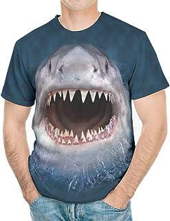 Wmeyiseyiy Camiseta clásica con diseño de tiburón sonriente para hombre