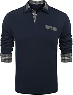 COOFANDY Men's Casual Long Sleeve Plaid Collar Polo Shirt with Pockets