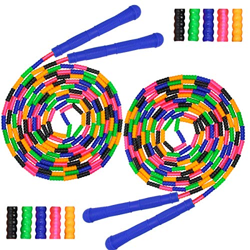 Coolrunner 16 FT Long Jump Rope(2 Pack), Double Dutch Jump Rope, Soft Beaded Skipping Rope for Kids Adults, Plastic Segmented Jump Rope, Long Enough for 4-5 Jumpers