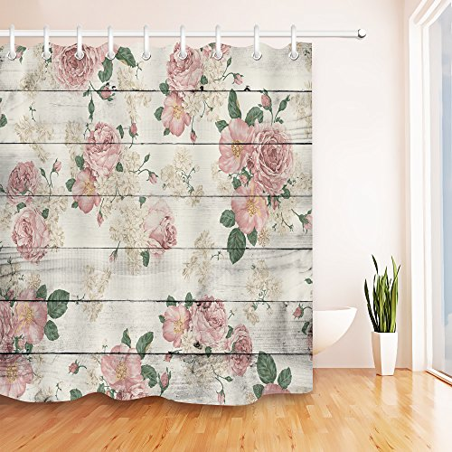 LB Pink Flower on Rustic Wood Panel Shower Curtain for Bathroom, Vintage Retro Country Floral Theme Curtain, Waterproof Fabric Decorative Curtain, 70 x 70 Inch