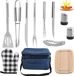 grilljoy BBQ Grill Tools Set with Blue Insulated Cooler Bag - All-in-one Barbecue Picnic Cooler Bag - 12pcs Stainless Steel Camping Utensil Kit - Perfect Grilling Accessories Set Gift