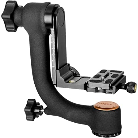 HIFFIN® Professional Heavy Duty Metal 360 Degree Panoramic Gimbal Tripod Head with Arca-Swiss Standard 1/4'' Quick Release Plate and Bubble Level for Digital