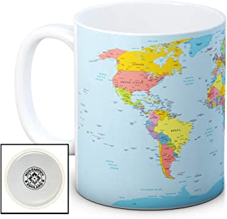 Mapa del mundo (políticos)–Alta calidad café taza de té