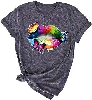 Camisetas Mujer Verano Basicas,Moda Camiseta De Blusa Sin Mangas con Estampado De Cuello Redondo Y Manga Corta para Mujer ...