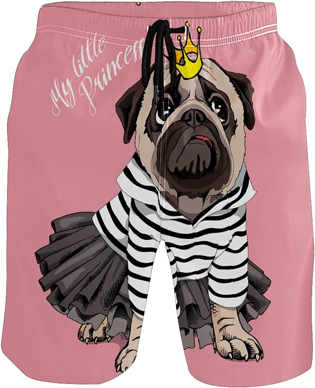 FCZ Men's Swim Trunks Cute Dog Princess Pug Pink Quick Dry Board Shorts Elastic Waist with Pockets