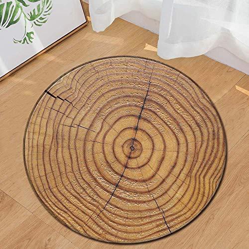 Runder Teppich Home Area Rug Baum Jährliche Ring Holzmaserung Kissen für Kinder Spielen Wohnzimmer Boden Yoga-Matte(Mehrfarbig G,Diam 60cm)