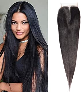 14 Inch Middle Part Straight 4X4 Lace Closure Natural Color 100% Brazilian Virgin Human Hair