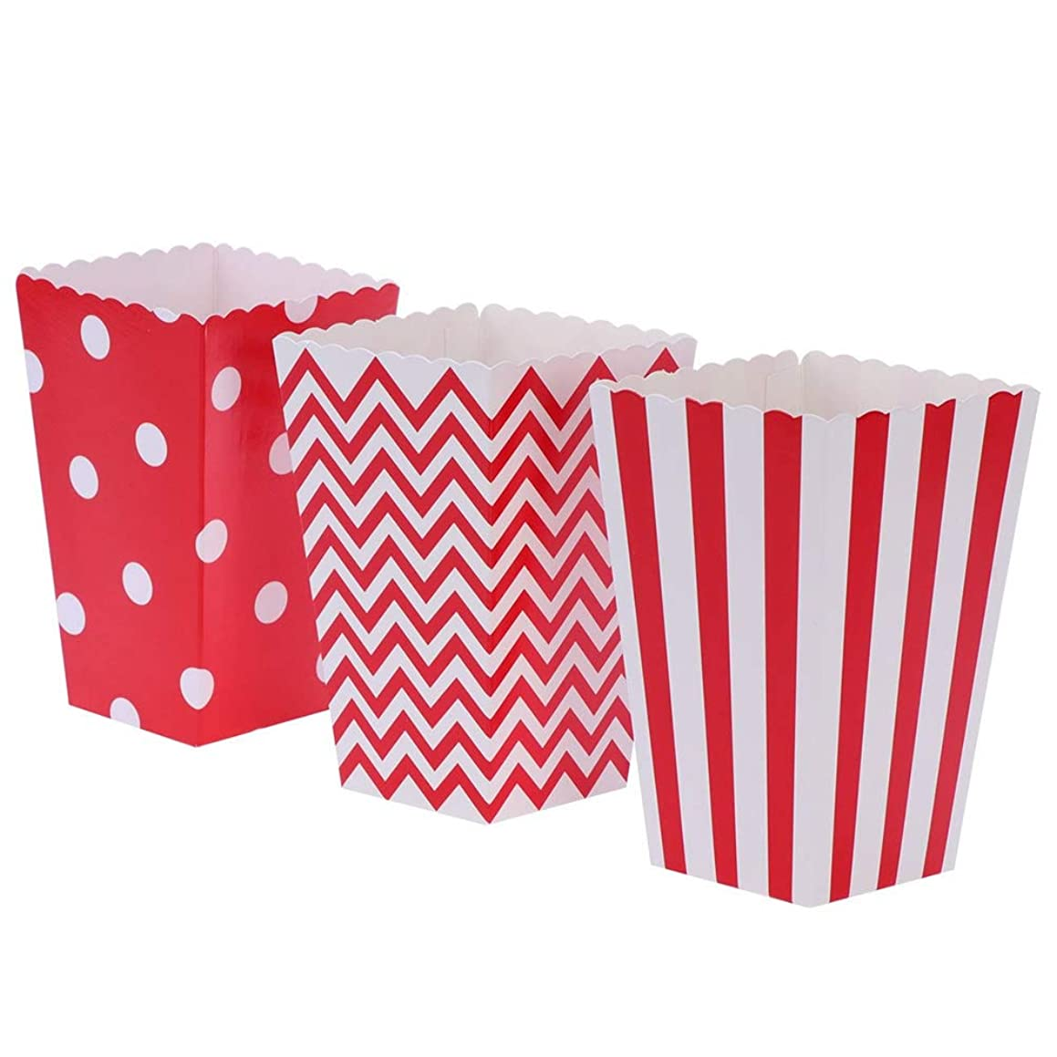 Nenluny 24pcs Popcorn Boxes Holders Containers Cardboard Candy Container Snack Paper Bags for Movie Theater Dessert Tables Wedding Favors (Red)