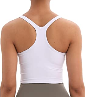 Lavento Women's Longline Sports Bra Yoga Racerback Crop Top with Built in Bra