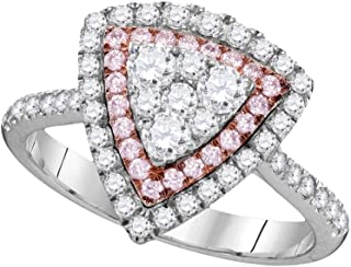 14k Rose And White Gold Round White And Pink Diamond Fashion Band OR Engagement Ring Trillion Shaped Halo Ring (.93 cttw.)