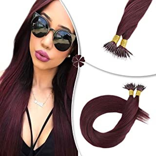 Hetto Nano Beads Remy Human Hair Extensions 50Strand/Pack Hair Extensions Nano Loop Bead Hair 16 Inch Fusion Hair #99J Red Wine