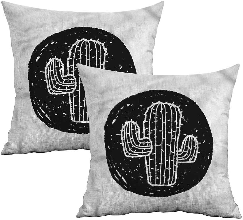 Khaki home Cactus Square Slip Pillowcase Saguaro Plant Theme Square Zippered Pillowcase Cushion Cases Pillowcases for Sofa Bedroom Car W 20  x L 20  2 pcs