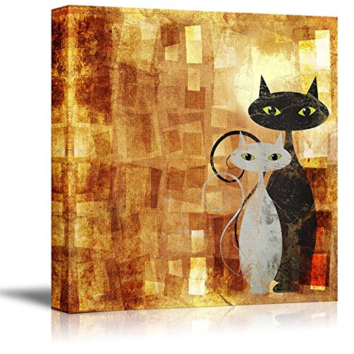 """wall26 - Canvas Prints Wall Art - Black and White Cat on Orange Grunge Canvas (Painting, Abstract, Cat) 