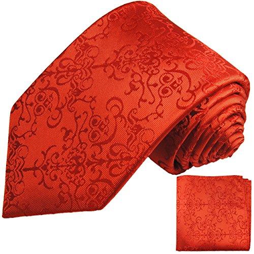Paul Malone Krawatten Set 2tlg rot barocke Seidenkrawatte (Schmale Krawatte 6cm)