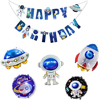 Chris.W Astronaut Balloons Party Banner Set for Outer Space Themed Party Decorations, Space Man Rocket Foil Mylar Balloon Happy Birthday Party Supplies(Pack of 6)