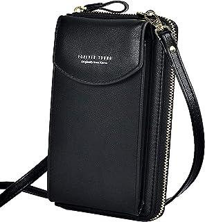 WANYIG Handy Umhängetasche Damen Handytasche zum Umhängen PU Leder Frauen Brieftasche Cross-Body Tasche Handy Schultertasc...