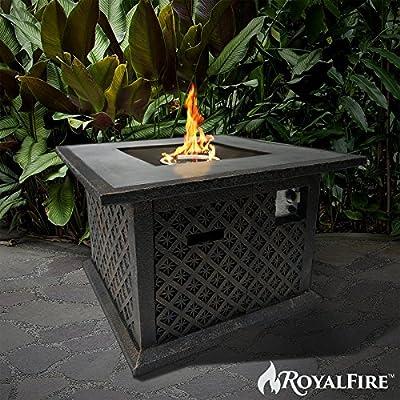 Royalfire Rfjc38510gf-bs Square Fibreglass Gas Fire Pit - Black Stone by Cozy Bay