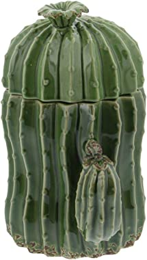 "Deco 79 56765 Large Ceramic Green Cactus Pottery Decorative Jars with Lids Gift Set, Unique Gift Ideas, Southwest Decor, Set of 3: 9"", 10"", 11"""
