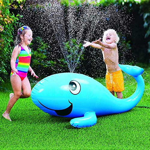 Hoovy Blue Whale Sprinkler | Large Inflatable Water Sprinkler Toys for Toddlers | Yard Water Toys Sprinkler | Water Sprinkler Whale Splash and Spray Toys for Outdoors, Backyard, Lawn, and Yard