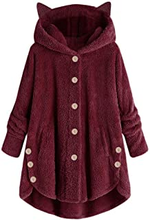 Hooded Faux Fur Coats Long Teddy Bear Jacket Button Fluffy Pullover Loose Sweater