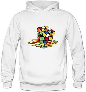 DASY Women's O-neck Big Bang Theory Rubik Cube Melting Hoodie Large White