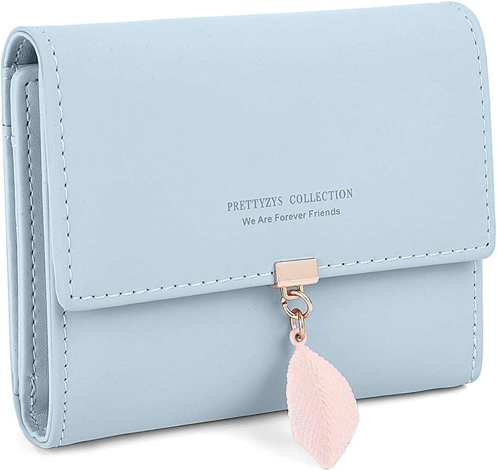 Charltu portafoglio da donna porta carte di credito in similpelle azzurro