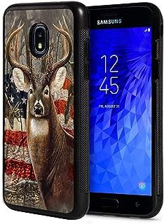 Galaxy J7 2018/J7 V 2018/J7 Refine/J7 Star Case,Slim Anti-Scratch Rubber Protective Cover for Samsung Galaxy J7 (2018) - Deer with American Flag