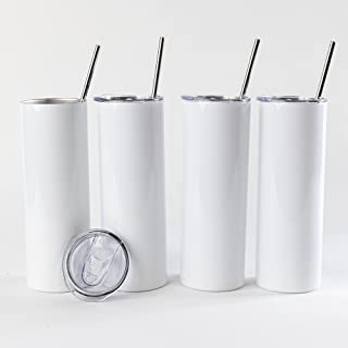 Simply Stocked Sublimation Tumbler - 20 oz - Straight and Skinny - Pack of 4 - with 4 Stainless Steel Straws and Cleaners ...
