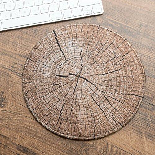 WAYMX Persönlichkeit Kreative Vintage Holzmaserung Runde Computer Mauspad Verdickt Schloss Rand Büro Spiel Hause Maus Tischset (D22cm * D22cm), d