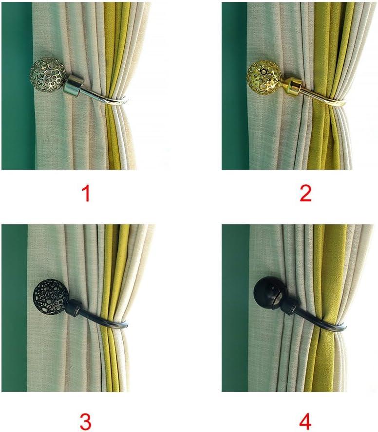 1Pc U-f/örmige Vorhang-Raffhalter Retro-Stil Aluminiumlegierung hohle Kugel Raffhalter//Raffhalter // Haken 2072 Schwarz