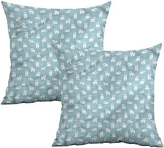 Khaki home Baby Square Throw Pillow Covers Cute Cartoon Polar Bears Square Zippered Pillowcase Cushion Cases Pillowcases for Sofa Bedroom Car W 18