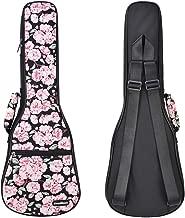 CLOUDMUSIC Plant Flower Hawaiian Black Ukulele Case Ukulele Bag Pink Cherry Flower Sakura (Concert, Black)